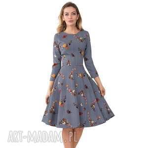 Sukienka STAR 3/4 Midi Juliana, rozkloszowana, midi, pepitka, kwiaty, kieszenie, koło