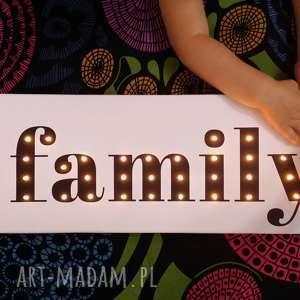 podświetlany napis family prezent obraz dekoracja, rodzina, family, dekoracja