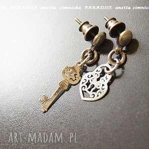srebro, kolczyki srebrna intryga ii, wkrętki, kluczyk, kłódka