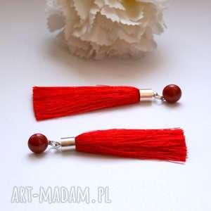 cahaya - czerwone chwosty, frędzle, wesele, długie, lekkie, sztyfty