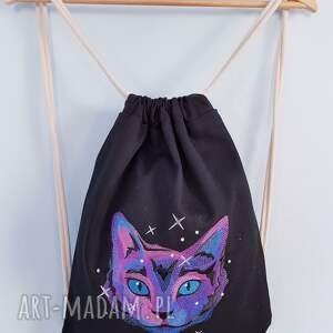 plecak worek kosmiczny kot - Ręcznie zrobione