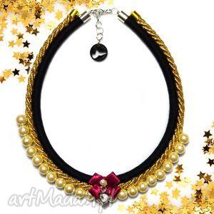 Kolia naszyjnik Tiffi black, kolia, naszyjnik, elegancki, perły, wieczorowy