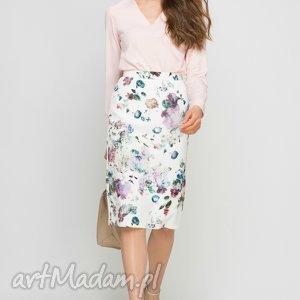bluzka z chokerem, blu132 róż, choker, różowa, elegancka, biuro, praca, zwiewna