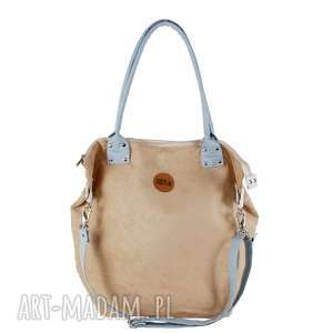 ręcznie robione na ramię torba worek beige #lightblue2