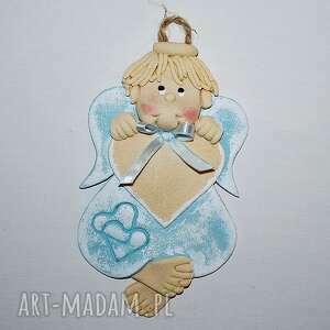 pamiątka dla miecia - anioł z dedykacją, aniołek, masa solna, prezent, na ścianę