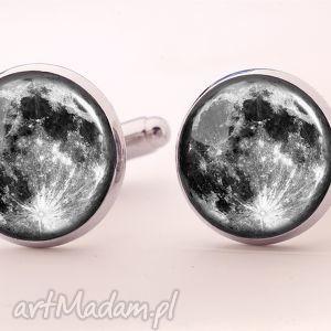 księżyc - spinki do mankietów - spinki, mankietów, księżyc, kosmos