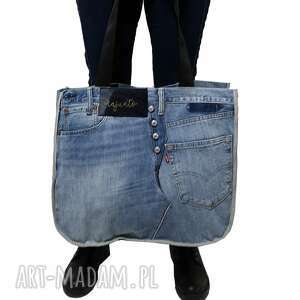 duża torba upcykling jeans levis 57, denim, upcyklin, recykling, upcycled