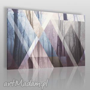 obraz na płótnie - trójkąty las 120x80 cm 45001, las, drzewa, trójkąty, nowoczesny