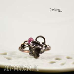 pierścionki lace - pierścionek z jadeitem, pierścionek, miedź, cyna, metaloplastyka