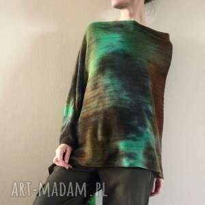 poncho ponczo wełniane w kolorach lasu, ponczo, narzutka, sweter, tunika