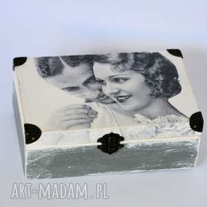 pudełka pudełko - pocałunek na obrączki, pudełko, ślub, vintage, romantyczne, drewno