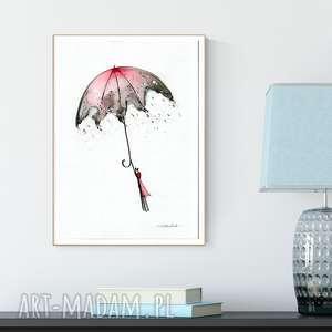 grafika 30x40 cm wykonana ręcznie, plakat, abstrakcja, elegancki minimalizm, parasol