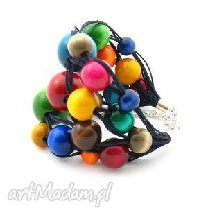 bransoletki bransoletka z tęczy, bransoletka, korale, drewno biżuteria