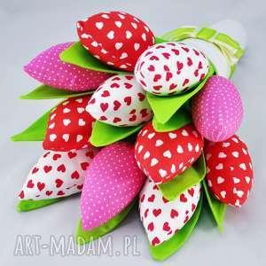 ręcznie robione dekoracje tulipany - bukiet z 11 sztuk