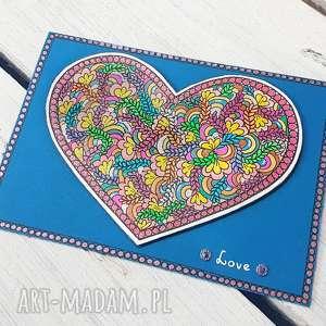 niebieska kartka z serduszkiem, kartka, gratulacje, walentynka, serce, miłość