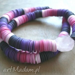 hand-made naszyjniki odcienie różu i fioletu, naszyjnik z masy polimerowej