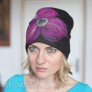 czapka czarna wełniana handmade, wełna, etno, zima, ciepła, damska, narty