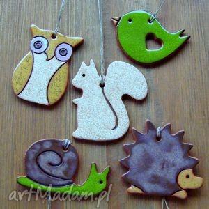 zawieszki leśne, zawieszki, dekoracje, ceramiczne, wiewiórka, sowa, zwierzęta