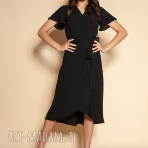 kopertowa sukienka z asymetrycznym dołem - suk198 czarna, wiązana