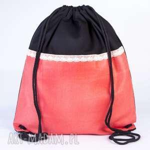 morelowa koronka, torba, plecak, koronka