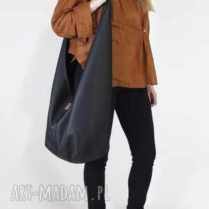 long boogi bag - torba w stylu boho do noszenia przez ramię, czarna, teksturowana