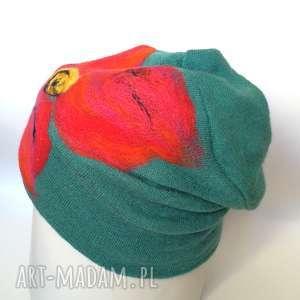 czapka wełniana damska turkus zieleń z kwiatem - wełna, narty, zima, etno