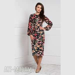 sukienki sukienka lidia midi larisa, dopasowana, midi, kwiaty, koronka, wiosna