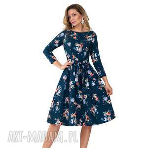 sukienka marie 3/4 midi berenika, kratka, kwiaty, rozkloszowana, pasek