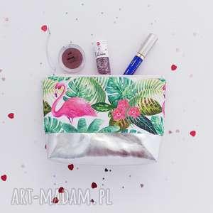 kosmetyczka flamingi - ,kosmetyczka,flamingi,tropikalna,srebro,saszetka,organizer,