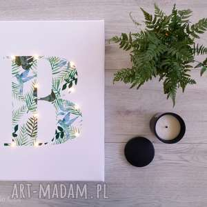Prezent ŚWIECĄCA litera MONSTERA obraz LED prezent lampa liście tropikalny motyw