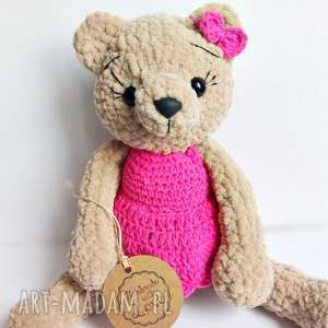 ręcznie wykonane maskotki pluszowa panna misia w jaskrawo różowej sukience 30 cm
