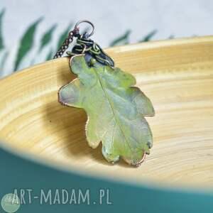 ręcznie zrobione naszyjniki dąb - naszyjnik z prawdziwym liściem