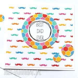 dla Taty :: kartka handmade rainbow moustache, tata, taty
