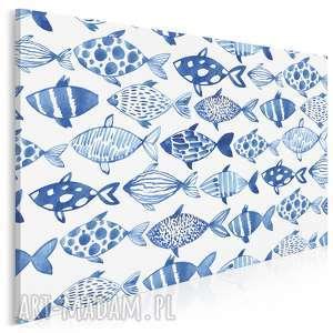 obraz na płótnie - ryby błękitny 120x80 cm 61801, ryby, akwarela, ławica