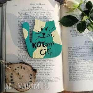 magnes turkusowy kot no 6, kot, walentynki, malowane ręcznie, ręcznie