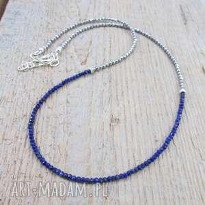 delikatny naszyjnik z lapis lazuli i hematytu, srebro, naszyjnik, lapis