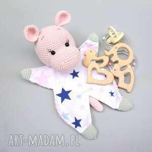 Przytulanka szmatka różowy hipopotam zabawki b a o l przytulanka