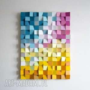 mozaika drewniana, obraz drewniany 3d ściepy_5, wallart, mozaika