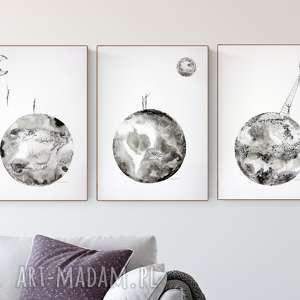 zamówienie zestaw 3 grafik 50 x 70 cm, minimalizm, grafiki do salonu, obrazy