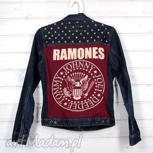 handmade kurtki kurtka dżinsowa z ćwiekami rock ramones