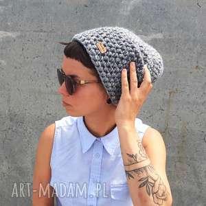 Mimi Monster - czapka hand made no. 053 beanie szara, ciepła czapka, narciarska, prezent