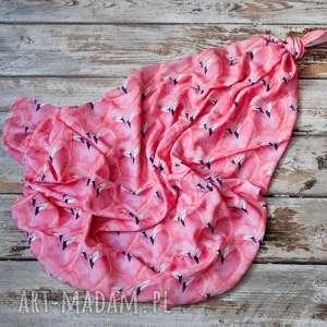 ręcznie robione dla dziecka bambusowy kocyk mgiełka, otulacz flamingi 70x100cm