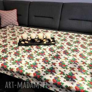 krakowskie, góralskie kwiaty obrus na stół lub stolik kawowy