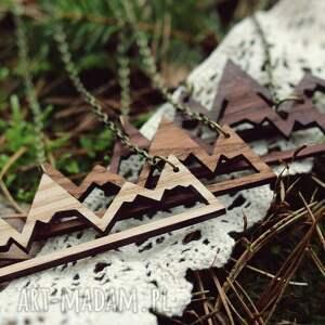 Drewniany naszyjnik - GÓRY, naszyjnik, drewniany, naturalny, góry, wisiorek, drewno