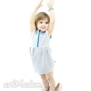 funky folky mała szara kaszubka mini, sukienka, dzianina, dresowa, haft, folkowy