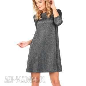 Sukienka srebrna z rękawem 3/4., lalu, sukienka, rozkloszowana, trapez, sylwester