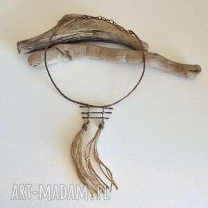 naszyjnik - talizman, kuta oksydowana miedz, biżuteria boho, naszyjnik, boho