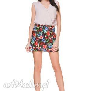 spódnice spódniczka mini w kwiaty t168, kolorowa, spódniczka, mini, trapez, wzór