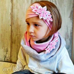 bukiet-pasji komplet dla dziewczynki - szaliki, opaska, kominy