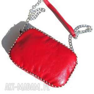handmade mini skórzana torebka bransoletka z koralikami